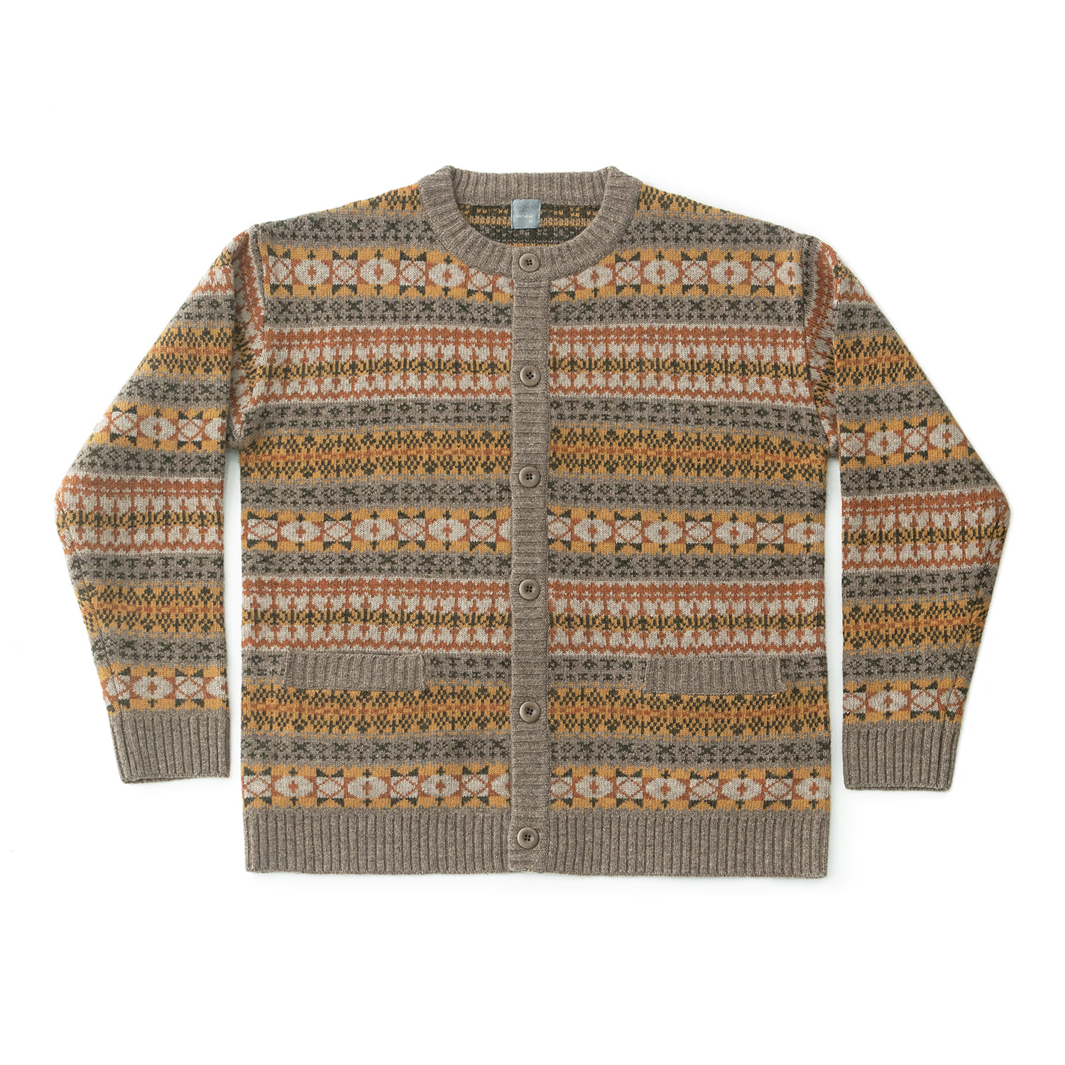 Grandma Fairisle Cardigan (Sand Orange)
