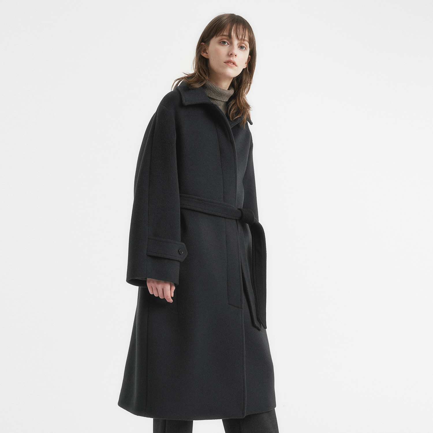 Women Cashmere Belted Coat (Dark Night)
