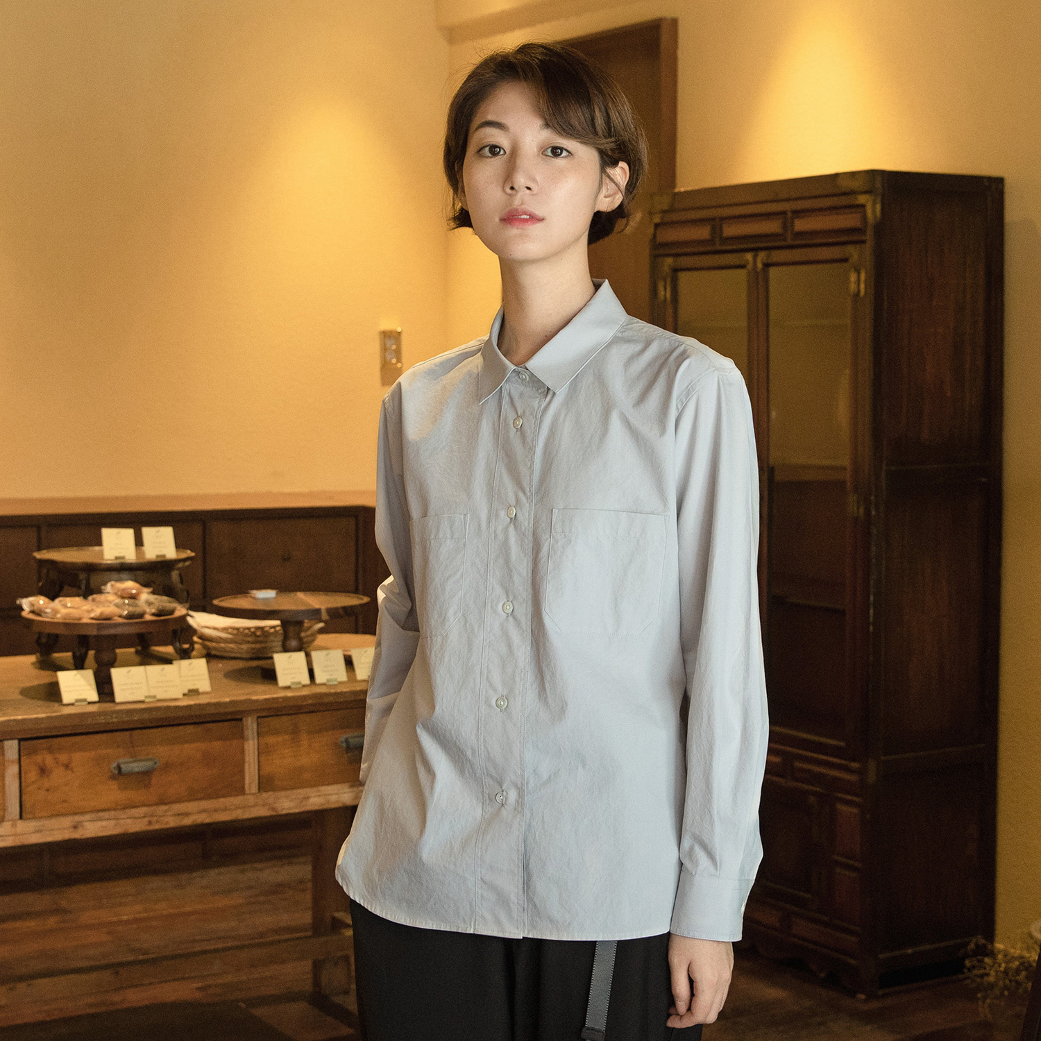 [재입고] Women Editor Shirt (Dove Gray)