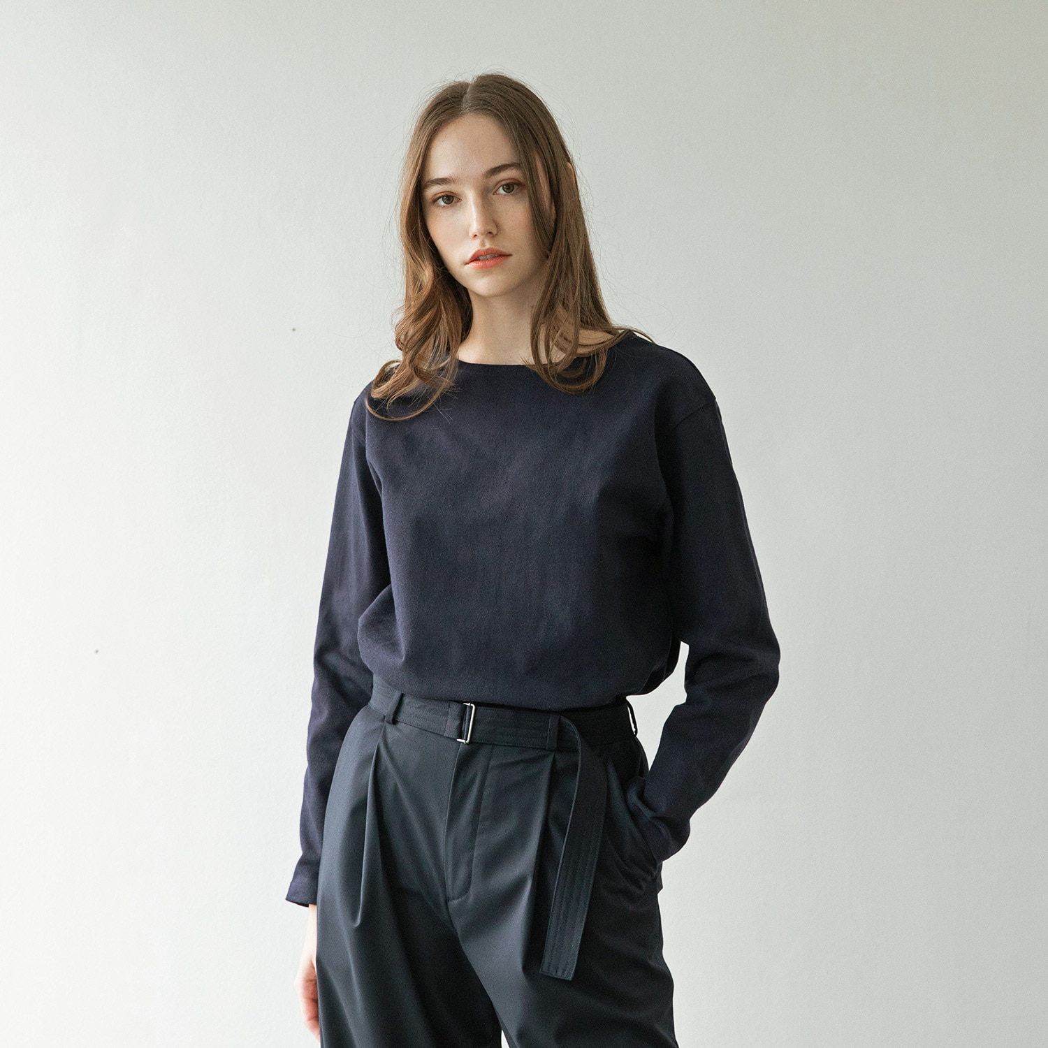 Women Upright Basqueshirt (Navy)