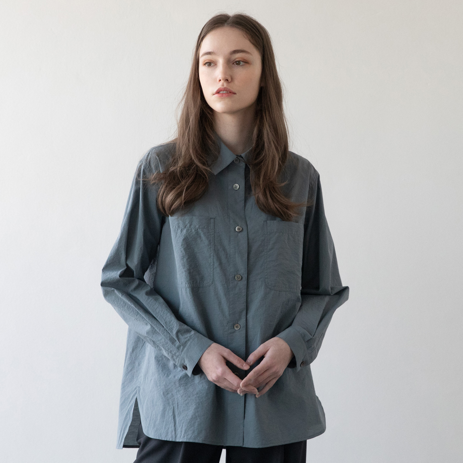 21SS Women Volume Shirt (Smoky Blue)