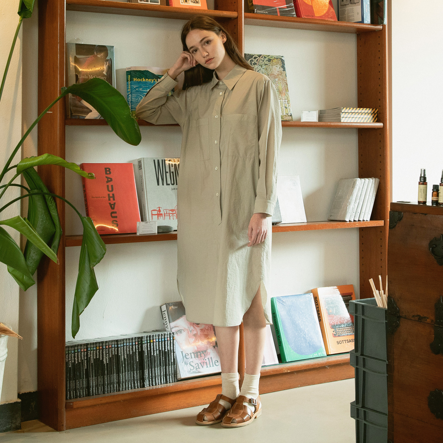 21SS Women Broad Shirtdress (Greige)