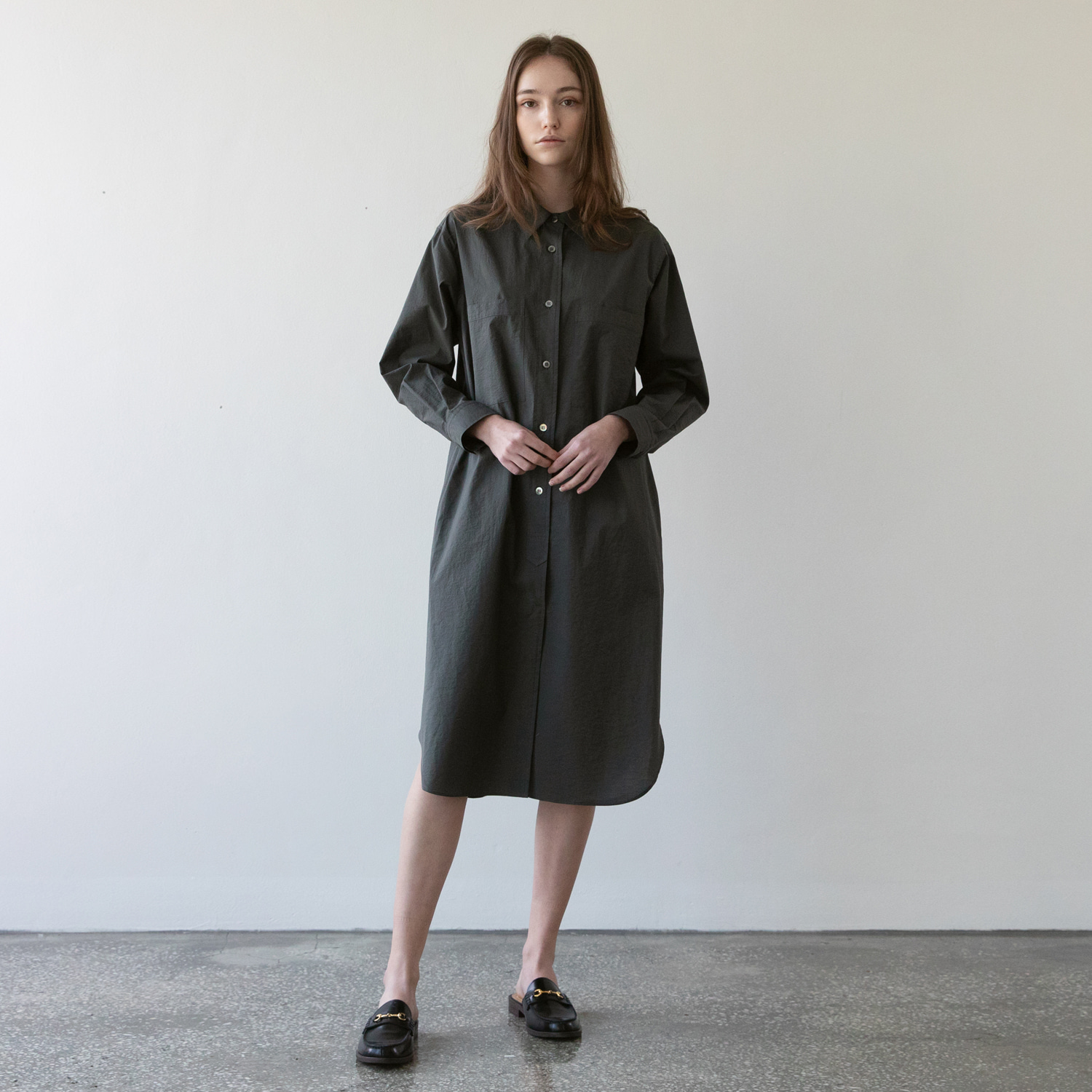 21SS Women Broad Shirtdress (Pewter)