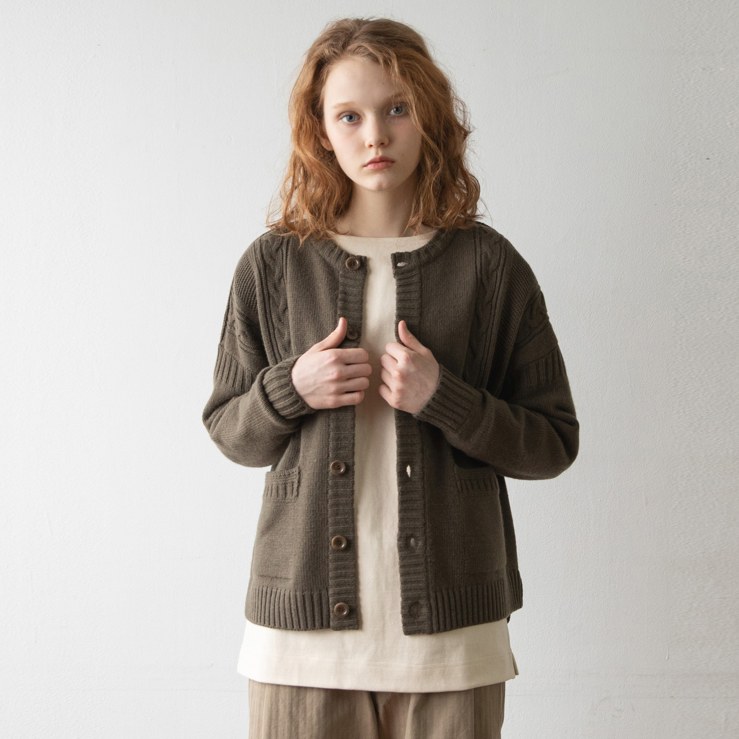 Women Guernsey Cardigan (Olive)