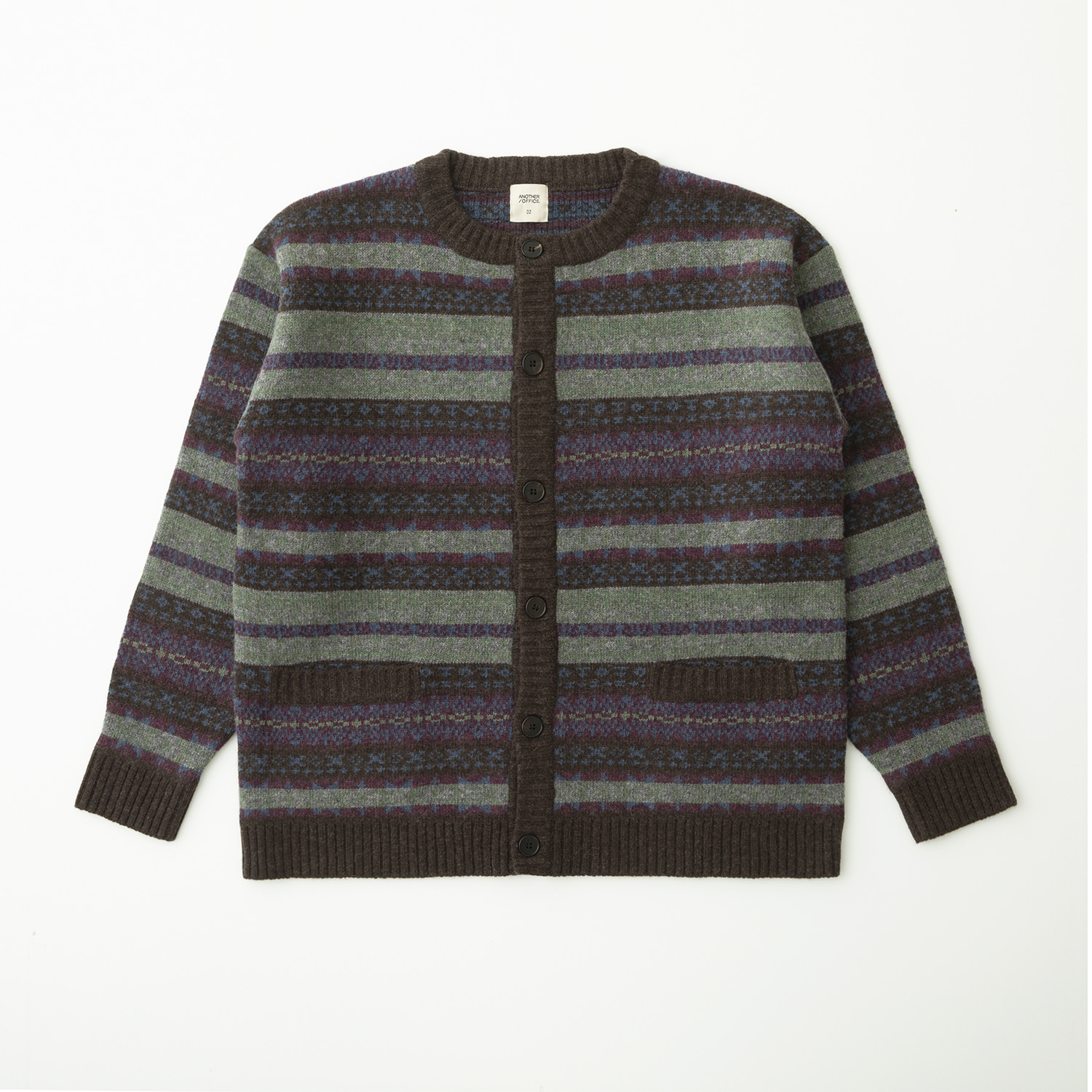 Grandma Fairisle Cardigan (Brown)