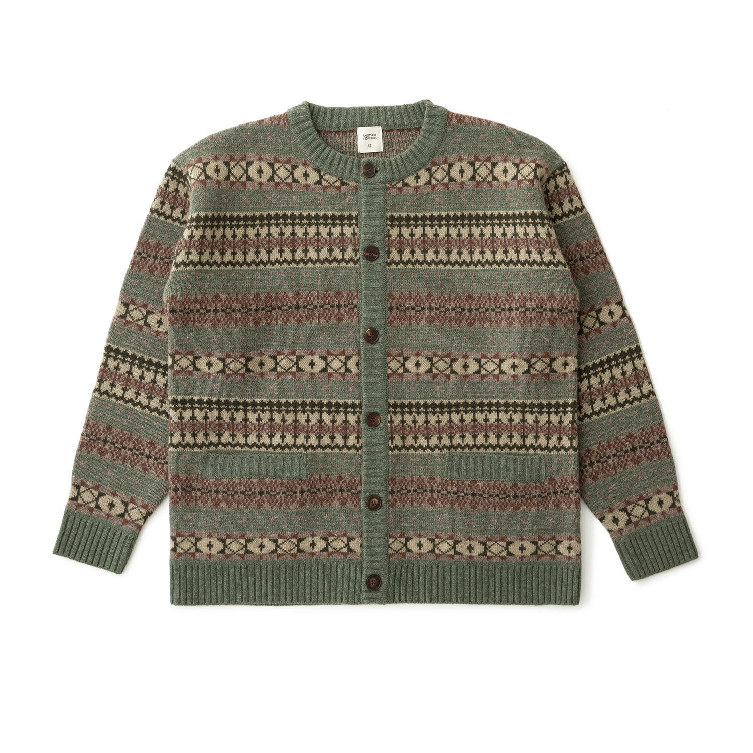 Grandma Fairisle Cardigan (Green Bean)