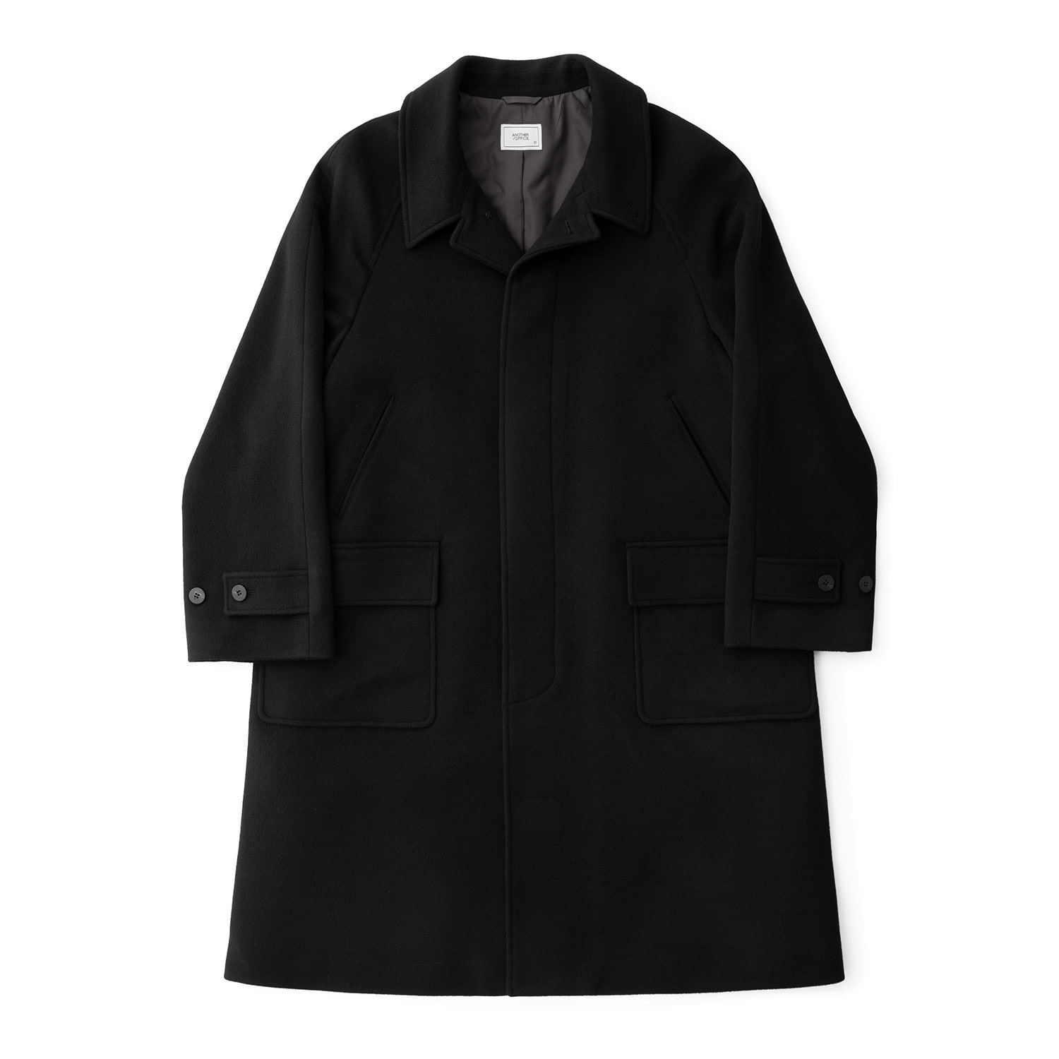 Ample Cashmere Balmacaan Coat (Black)