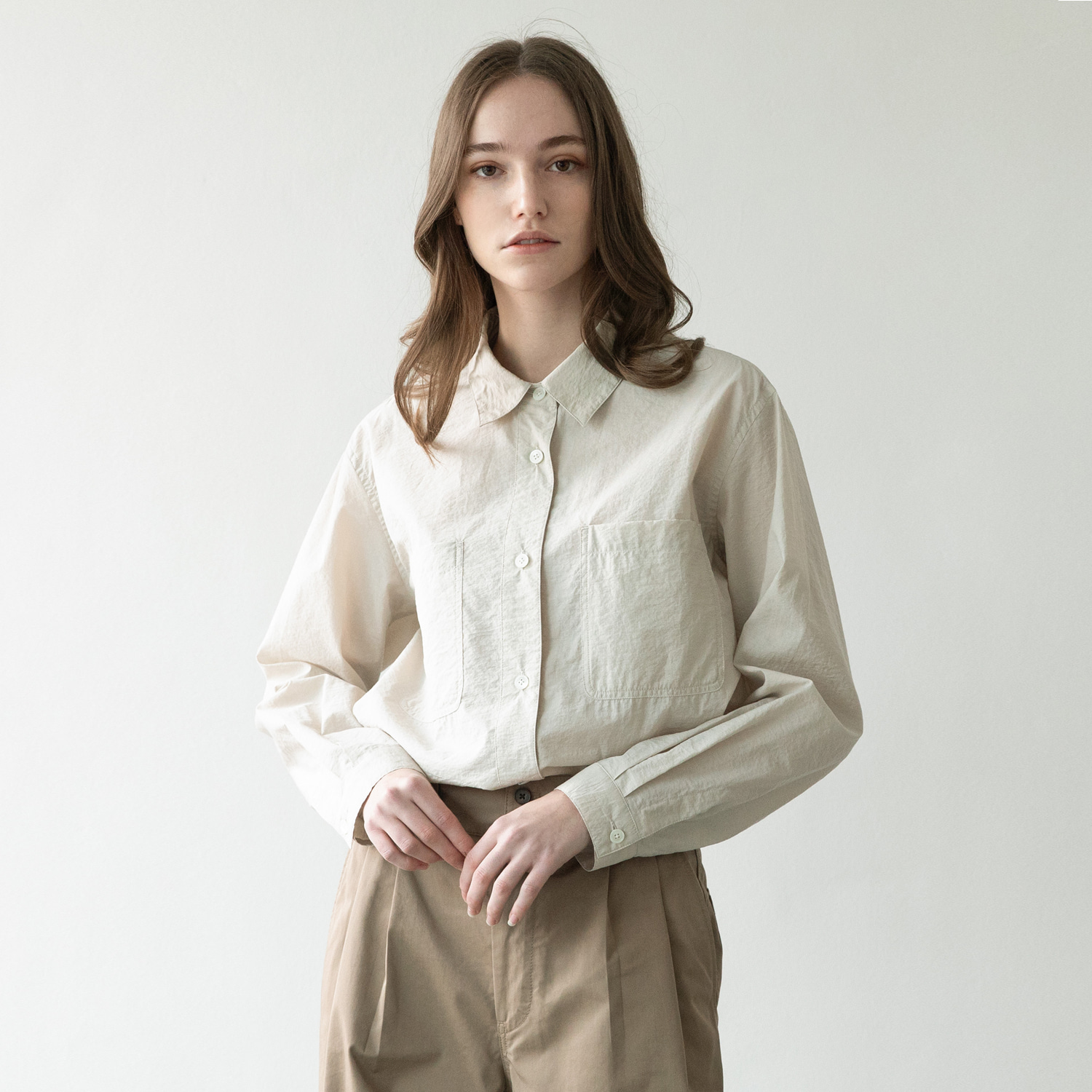 21SS Women Volume Shirt (Almond Milk)